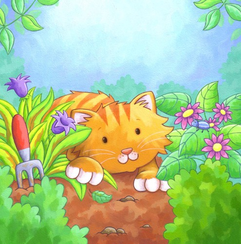 Debbie Tarbett Illustration - debbie tarbett, acrylic, paint, painted, young, sweet, commercial, novelty, board, picture book, picturebook, animals, cats, kittens, flowers