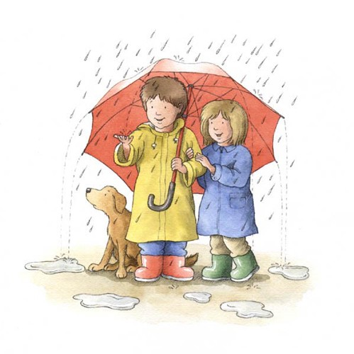 Debbie Tarbett Illustration - debbie tarbett, traditional, paint, painted, watercolour, pencil, young, sweet, commercial, educational, picture book, picturebook, people, children, boys, girls, dogs, raining