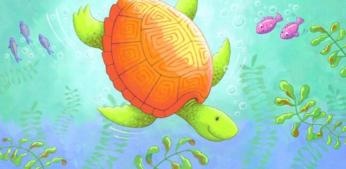 Debbie Tarbett Illustration - debbie tarbett, acrylic, paint, painted, young, sweet, commercial, novelty, board, picture book, picturebook, animals, turtles, tortoises, underwater, ocean, sea, fishes, fish