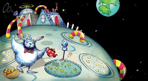 Emily Twomey Illustration - emily twomey, emily, twomey, picture book, picturebook, commercial, digital, painted, paint, aliens, planets, moon, space, stars
