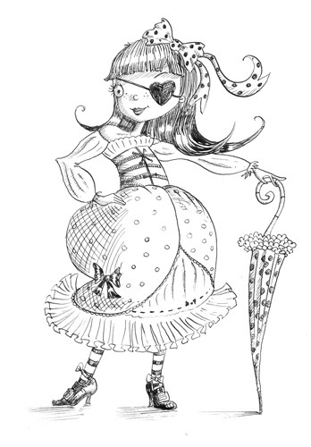 Erica Jane Waters Illustration - erica jane waters, fiction, commercial, tween, teen, teenagers, black and white, black line, black and white line, people, girls, girly, pirates, costumes