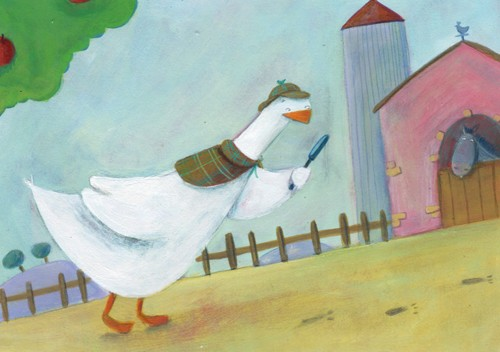Francesca Assirelli Illustration - rancesca, assirelli, francesca assirelli, acrylic, acrylic paint, paint, painted, commercial, trade, picturebook, picture book, goose, geese, duck, ducks, detective, farm, mystery, animal, animals