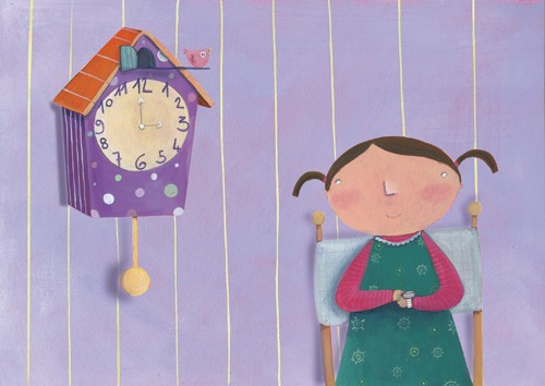 Francesca Assirelli Illustration - rancesca, assirelli, francesca assirelli, acrylic, acrylic paint, paint, painted, commercial, trade, picturebook, picture book, child, children, people, girl, girls, clock, cuckoo clock