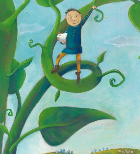 Francesca Assirelli Illustration - rancesca, assirelli, francesca assirelli, acrylic, acrylic paint, paint, painted, commercial, trade, picturebook, picture book, child, children, people, boy, boys, jack, beanstalk, jack and the beanstalk
