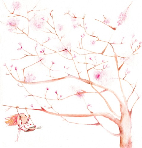 Florencia Denis Illustration - florencia denis, flory denis, paint, painted, watercolour, traditional, picture book, picturebook, trade, trees, blossoms, swings, swinging, children, girls, girly, spring