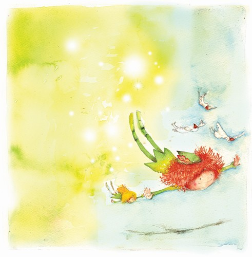 Florencia Denis Illustration - florencia denis, flory denis, paint, painted, watercolour, traditional, picture book, picturebook, trade, educational, flying, children, elves, elf, magic, magical