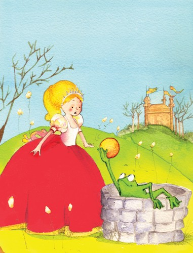 Florencia Denis Illustration - florencia denis, flory denis, paint, painted, watercolour, traditional, picture book, picturebook, trade, princesses, princess, queens, frogs, well, castle, palace, people