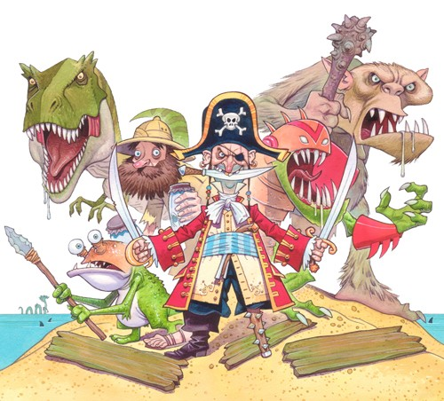 Graham Howells Illustration - graham, howells, graham howells, commercial, fiction, fantasy, paint, painted, watercolour, dinosaur, dinosaurs, troll, trolls, ogre, ogres, pirate, pirates, san, beach, sea