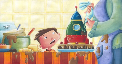 Garyfallia Leftheri Illustration - garyfallia leftheri, acrylic, paint, painted, commercial, picture book, picturebook, educational, people, children, boys, family, rocket, spaceship