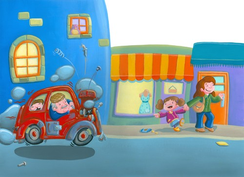 Garyfallia Leftheri Illustration - garyfallia leftheri, acrylic, paint, painted, commercial, picture book, picturebook, educational, people, children, family, girls, cars