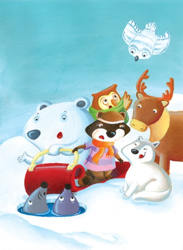 Garyfallia Leftheri Illustration - garyfallia leftheri, acrylic, paint, painted, commercial, picture book, picturebook, educational, animals, bears, polar bears, reindeers, owls, winter, snowing