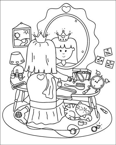Helen Naylor Illustration - helen booth, helen, booth, digital, mass market, value, activity, commercial, black, white, black and white, black line, black and white line, princess, princesses, girl, girls, people