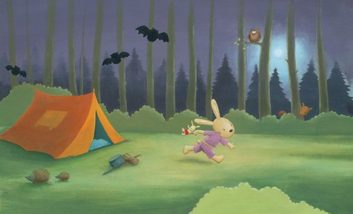 Heidi D'Hamers Illustration - heidi d'hamers, heidi dhamers, paint, painted, acrylic, commercial, novelty, picture book, picturebook, board, animals, rabbits, bunny, bunnies, halloween, bats, camping, night, moon