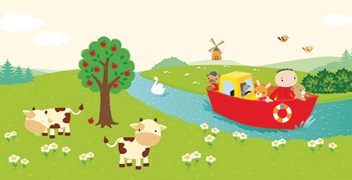 Heidi D'Hamers Illustration - heidi d'hamers, heidi d'hamers, picture book, educational, picturebook, board, digital, photoshop, illustrator, colour, animals, field, grass, cows, river, stream, boat, flowers, trees, apples, birds, windmill, countryside, boy, rabit