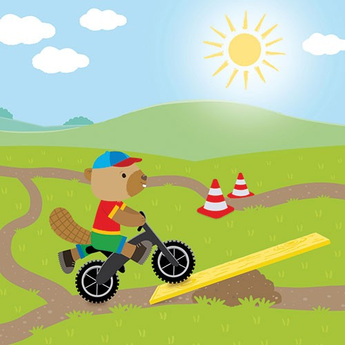 Heidi D'Hamers Illustration - heidi d'hamers, heidi d'hamers, picture book, educational, picturebook, board, digital, photoshop, illustrator, colour,, board, beaver, bike, riding, ramp, sun, grass, fields, sunshine, cones, motorbike