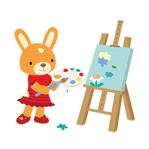 Heidi D'Hamers Illustration - heidi d'hamers, heidi d'hamers, picture book, picturebook, educational, board, digital, photoshop, illustrator, colour, rabbit, bunny, bunny rabbit, dress, shoes, cute, sweet, painting, canvas, paint, art, paintbrush, flower