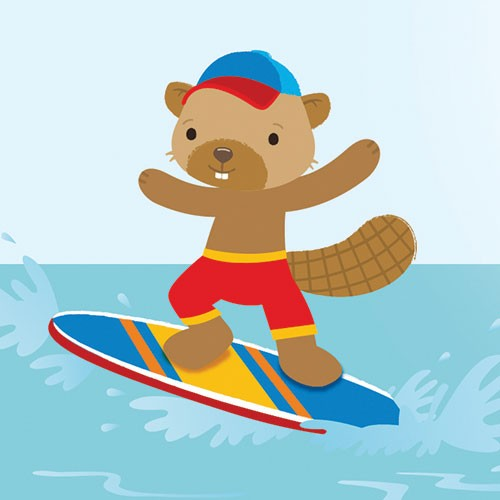 Heidi D'Hamers Illustration - heidi d'hamers, heidi d'hamers, picture book, educational, picturebook, board, digital, photoshop, illustrator, colour,, board, beaver, sea, surf, surfing, sun, summer, waves, cap, hat, sweet
