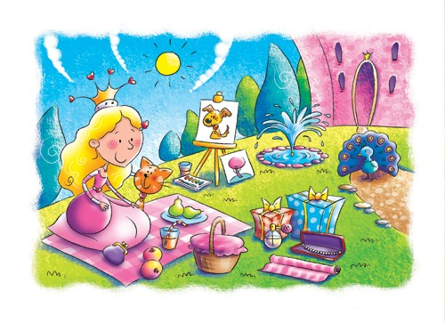 Helen Prole Illustration - helen prole, educational, commercial, digital, mass market, value, activity, colouring, people, girls, girly, princess, princesses, queens, picnic, castle