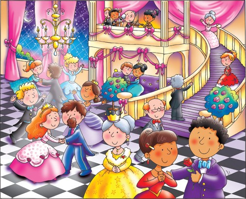 Helen Prole Illustration - helen prole, educational, commercial, digital, mass market, value, activity, colouring, people, palace, castle, ball, party, celebrations
