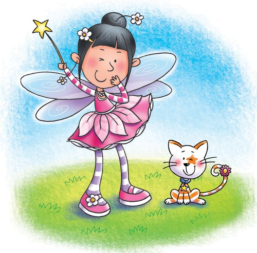 Helen Prole Illustration - helen prole, educational, commercial, digital, mass market, value, activity, colouring, people, pastel, children, girls, girly, fairies, fairy, faery, faeries, animals, cats