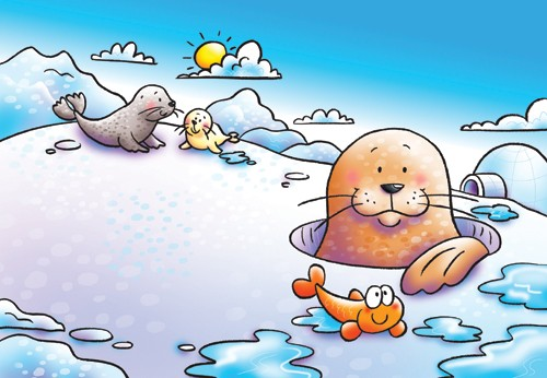Helen Prole Illustration - helen prole, educational, commercial, digital, mass market, value, activity, colouring, animals, winter, arctic, snowing, seals