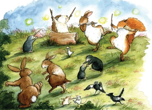 Hannah Whitty Illustration - hannah whitty, commercial, paint, painted, watercolour, picture book, picturebook, fiction, animals, squirrels, rabbits, bunny, bunnies, hares, hedgehogs, moles, mice, rats, mouse, birds, party, dancing
