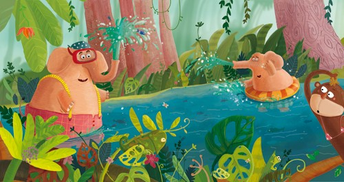 Inna Chernyak Illustration - inna, chernyak, inna chernyak, acrylic, paint, painted, digital, trade, commercial, picture book, picturebook, jungle, forest, tree, trees, leaves, branches, animal, animals, elephant, elephants, monkey, monkeys, monkies, water, river, stream, splash