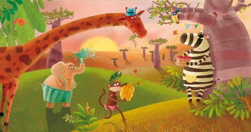 Inna Chernyak Illustration - inna, chernyak, inna chernyak, digital, commercial, educational, paint, painted, picturebook, picture book, animal, animals, elephant, elephants, zebra, zebras, giraffe, giraffes, monkey, monkeys, jungle, sunset, sunrise, dawn, dusk