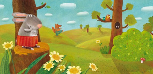 Inna Chernyak Illustration - inna, chernyak, inna chernyak, digital, commercial, educational, paint, painted, picturebook, picture book, animal, animals, rabbit, rabbits, bunny, bunnies, forest, meadow, flowers