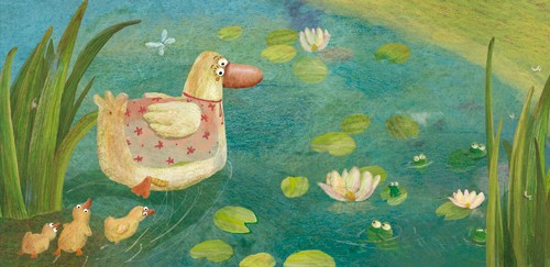 Inna Chernyak Illustration - inna, chernyak, inna chernyak, digital, commercial, educational, paint, painted, picturebook, picture book, animal, animals, duck, ducks, duckling, ducklings, pond, water, lilies, lily, reeds, reed, lily pad, lily pads