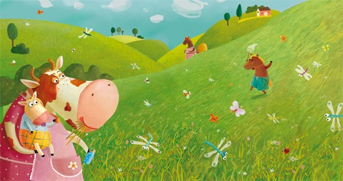 Inna Chernyak Illustration - inna, chernyak, inna chernyak, digital, commercial, educational, paint, painted, picturebook, picture book, animal, animals, cow, cows, meadow, field, grass, flowers