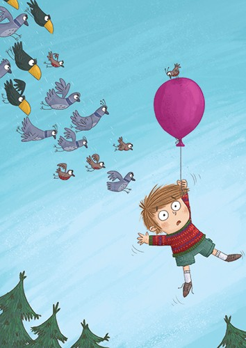 Ian Smith Illustration - ian smith, digital, commercial, sweet, young, picture book, fiction, pencil, texture, colour, colourful, boy, character, balloon, floating, birds, pigeons, trees, nature, sky, adventure,
