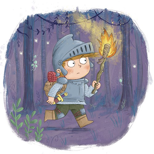 Ian Smith Illustration - ian smith, digital, commercial, sweet, young, picture book, fiction, pencil, texture, colour, colourful, boy, character, knight, medieval, armour, adventure, fantasy, woking, woods, forest, nature, dark, torch, fire, night, path,