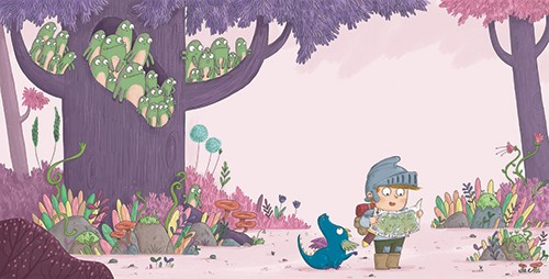 Ian Smith Illustration - ian smith, digital, commercial, sweet, young, picture book, fiction, pencil, texture, colour, colourful, boy, character, knight, medieval, armour, adventure, fantasy, woods, dragon, friends, pet, animal, wild, woods, map, trees, forest, creatures, frogs,
