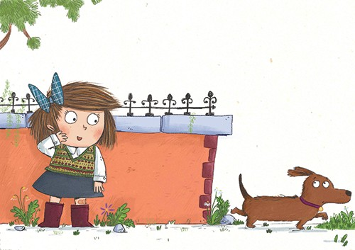 Ian Smith Illustration - ian smith, digital, commercial, sweet, young, picture book, fiction, pencil, texture, colour, colourful, character, girl, wall, dog, pet, animal, street, walking, road,
