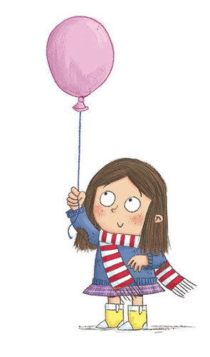 Ian Smith Illustration - ian smith, digital, commercial, sweet, young, picture book, fiction, pencil, texture, colour, colourful, character, girl, balloon, fun, happy, scarf, cute, sweet, scarf,