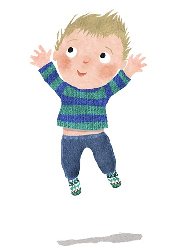 Milly Teggle Illustration - milly, teggle, milly teggle, photoshop, adobe, digital art, adobe photoshop, digital, texture, textured, textures, picture book, commercial, educational, novelty, jump, jumping, joy, leap, tot, boy, baby, toddler, young, happy, cute, stripey jumper, strip