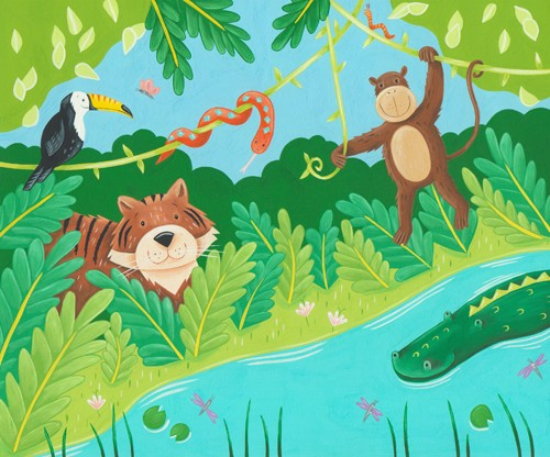 Lucy Boden Illustration - lucy, boden, lucy boden, commercial, acrylic, paint, painted, acrylic paint, jungle, monkey, monkeys, monkies, animal, animals, tiger, tigers, crocodile, crocodiles, alligator, alligators, toucan, toucans, snake, snakes