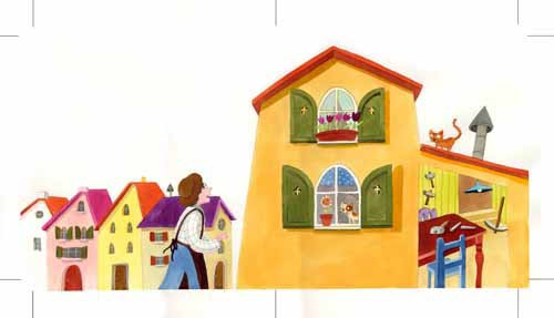 Laura Barella Illustration - laura, barella, laura barella, acrylic, paint, painted, commercial, trade, picture book, picturebook, house, houses, building, buildings, village, city, town