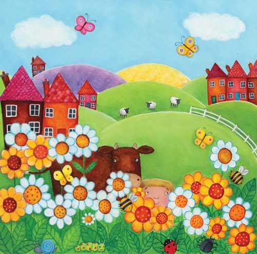 Louise Redshaw Illustration - louise redshaw, acrylic, paint, painted, commercial, picture book, picturebook, educational, novelty, farm, farmyard, cows, fields, flowers, sheep