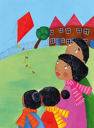Louise Redshaw Illustration - louise redshaw, acrylic, paint, painted, commercial, picture book, picturebook, educational, people, children, ethnic, boys, girls, siblings, family, mother, father, mummy, daddy, mum, dad, sons, daughters, kites