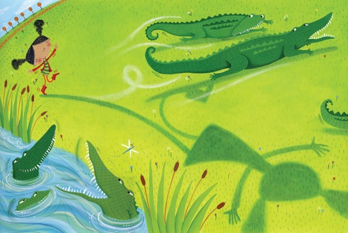 Miriam Latimer Illustration - miriam latimer, acrylic, paint, painted, traditional, commercial, picture book, picturebook, sweet, children, girls, people, animals, crocodiles, alligators