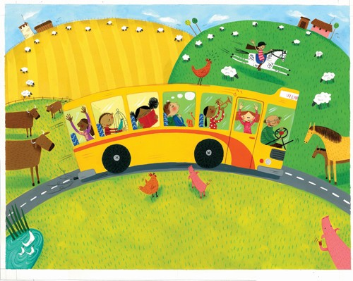 Miriam Latimer Illustration - miriam latimer, acrylic, paint, painted, traditional, commercial, picture book, picturebook, sweet, children, girls, people bus, vehicles, boys, school, school bus, fields