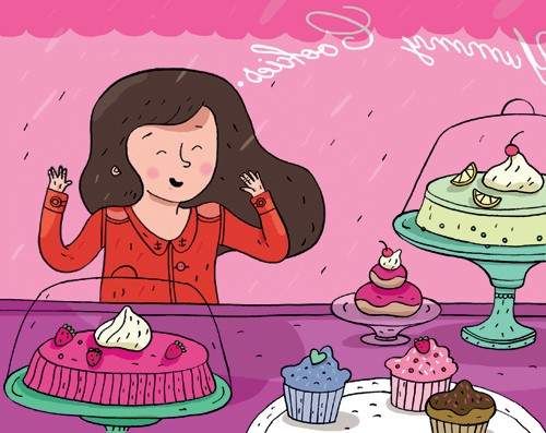 Melisande Luthringer Illustration - melisande luthringer, digital, commercial, novelty, educational, fiction, people, cakes, shops, lady, women, woman, cupcakes, girls