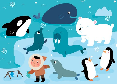 Melisande Luthringer Illustration - melisande luthringer, digital, commercial, novelty, educational, children, boys, eskimo, winter, iceland, arctic, snowing, animals, whales, walruses, seals, penguins