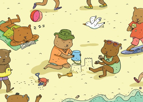 Melisande Luthringer Illustration - melisande luthringer, digital, commercial, novelty, educational, animals, bears, ocean, seaside, sea, beach, sand