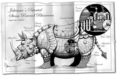 Nick Ward Illustration - nick, ward, nick ward, fiction, paint, painted, commercial, black, white, black and white, black line, black and white line, rhino, rhinos, animal, animals, mechanical