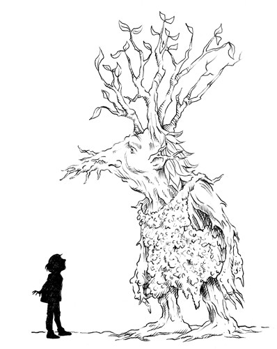 Nick Ward Illustration - nick, ward, nick ward, fiction, paint, painted, commercial, black, white, black and white, black line, black and white line, people, child, children, boy, girl, boys, girls, tree, trees, creature, creatures, monster, ent, monsters