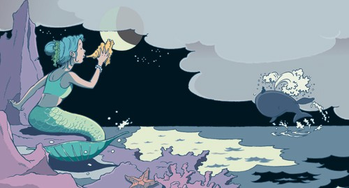 Nick Ward Illustration - nick, ward, nick ward, picture book, picturebook, fiction, paint, painted, commercial, ocean, sea, waves, mermaid, whale, storm, night, nightsky, stars, starry sky
