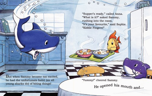 Nick Ward Illustration - nick, ward, nick ward, picture book, picturebook, fiction, paint, painted, commercial, shark, sharks, kitchen, fish, fishes